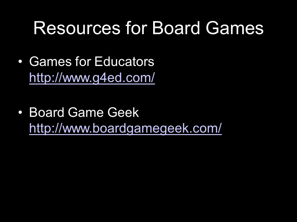 Resources for Board Games