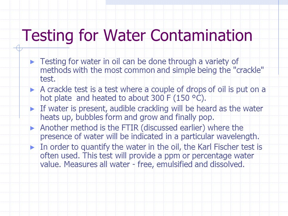 Testing for Water Contamination