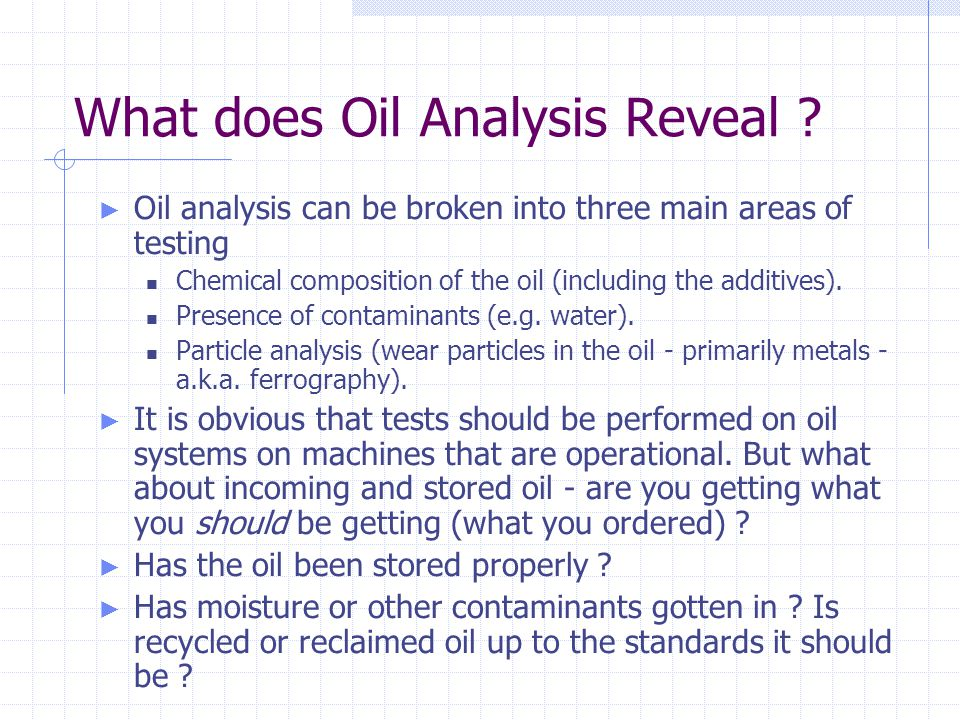 What does Oil Analysis Reveal