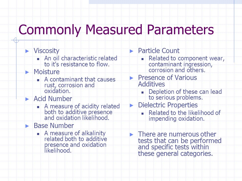 Commonly Measured Parameters