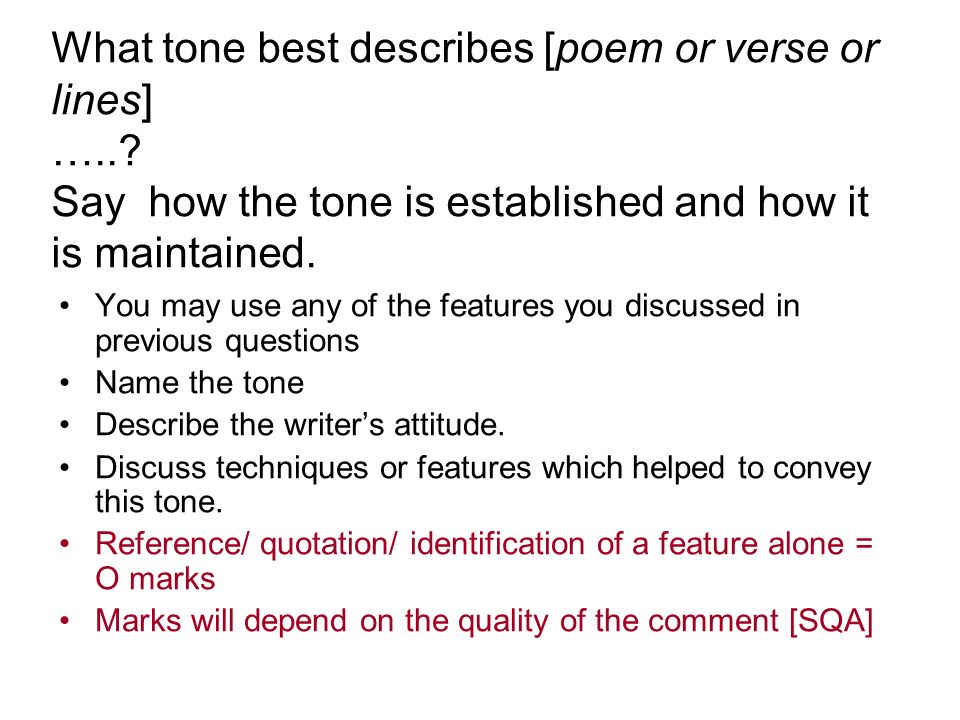 What tone best describes [poem or verse or lines] …