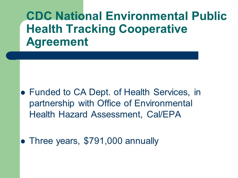 CDC National Environmental Public Health Tracking Cooperative Agreement