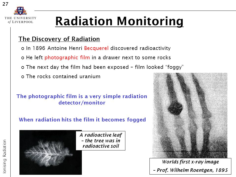 Radiation Monitoring The Discovery of Radiation