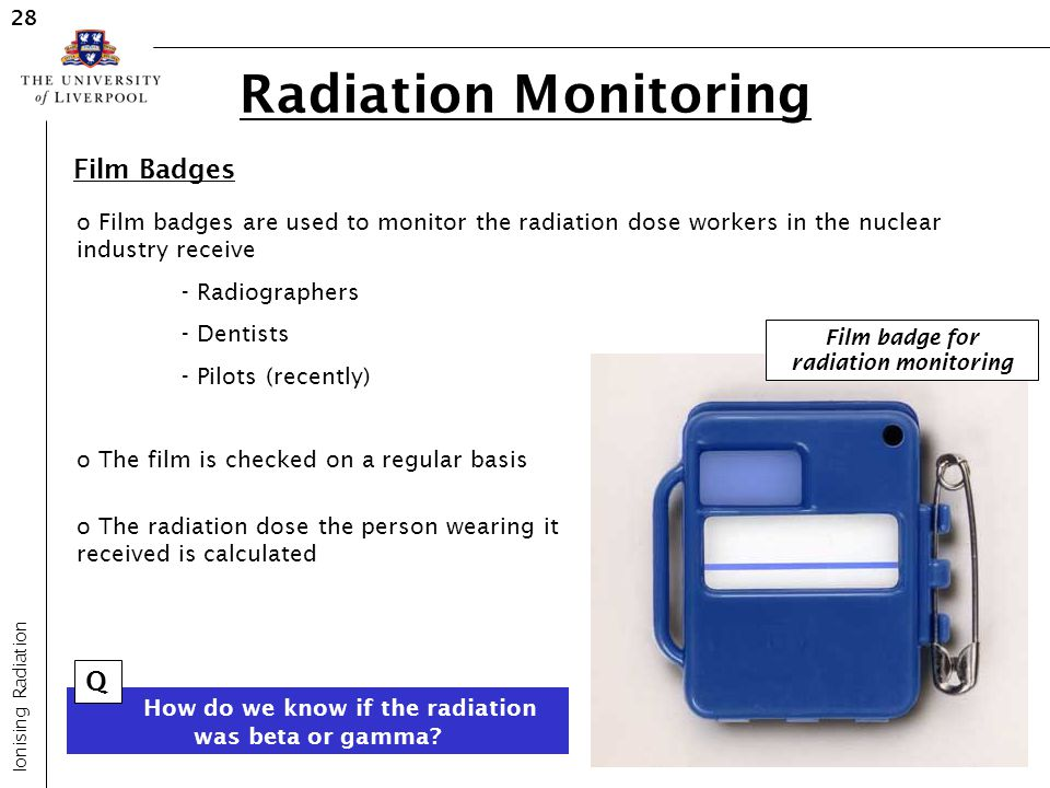 Film badge for radiation monitoring