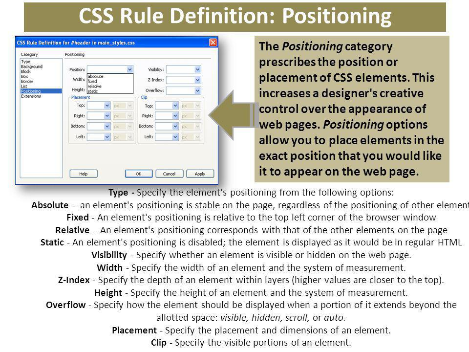 CSS Rule Definition: Positioning