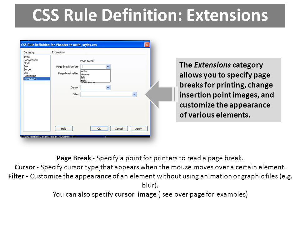 CSS Rule Definition: Extensions