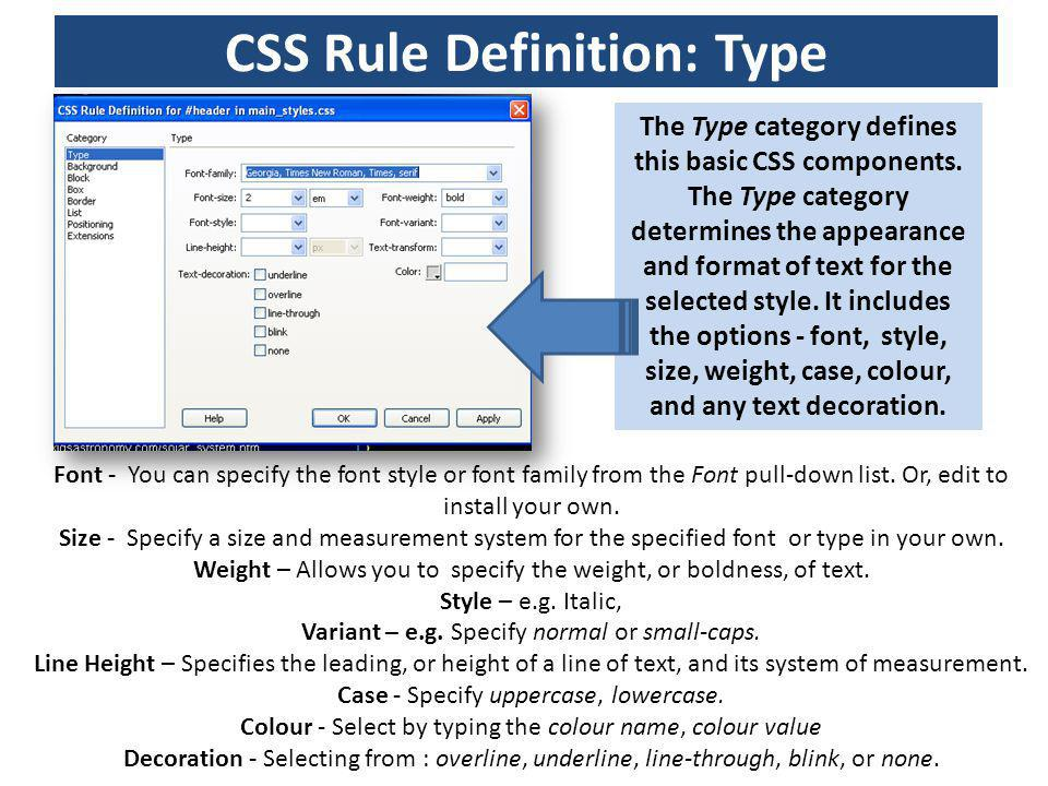 CSS Rule Definition: Type