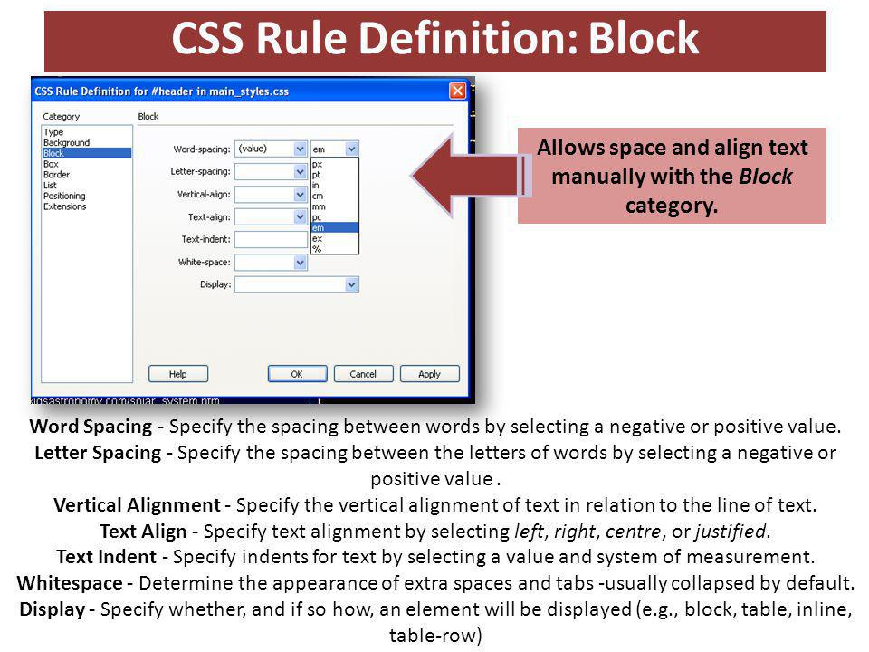 CSS Rule Definition: Block