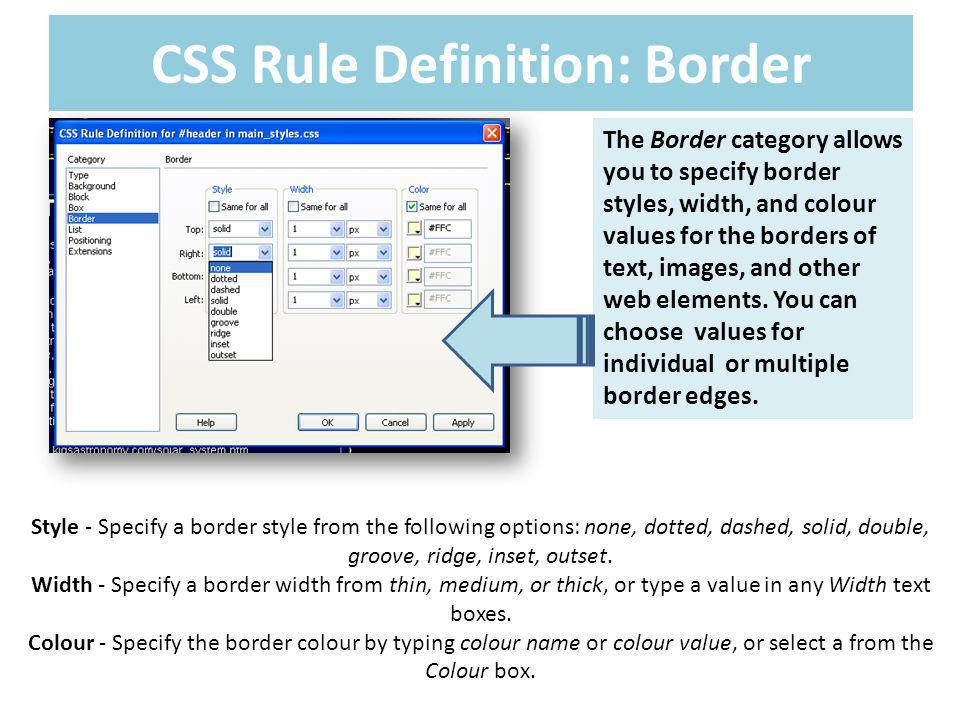 CSS Rule Definition: Border