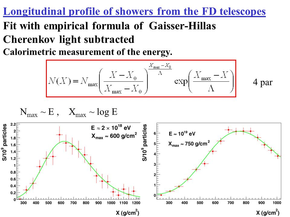 Longitudinal profile of showers from the FD telescopes Fit with empirical formula of Gaisser-Hillas Cherenkov light subtracted Calorimetric measurement of the energy.