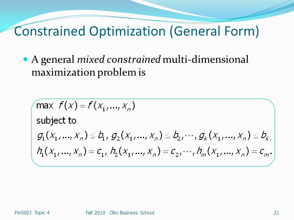 Constrained Optimization (General Form)