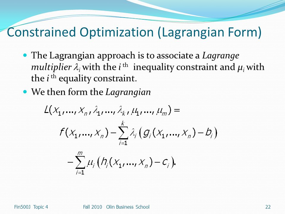 Constrained Optimization (Lagrangian Form)