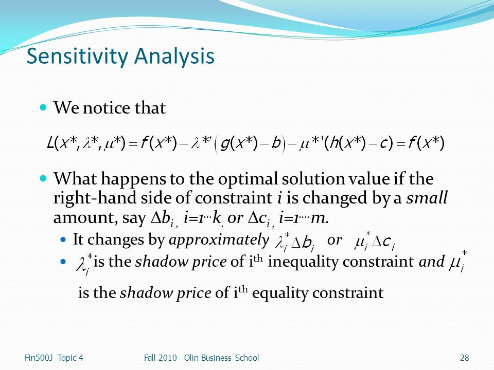 Sensitivity Analysis We notice that