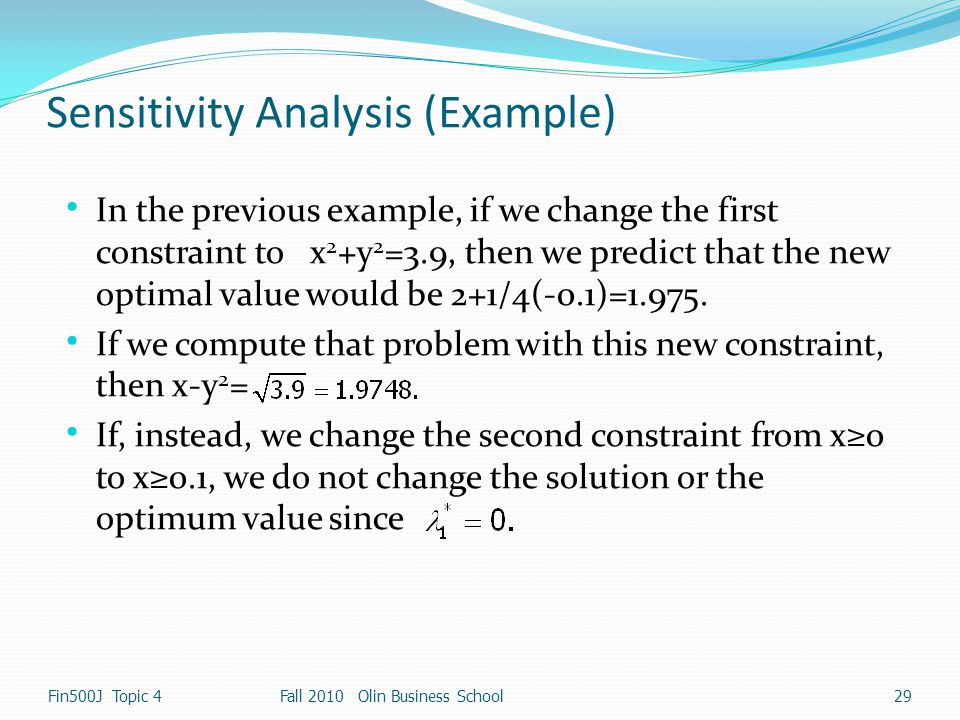 Sensitivity Analysis (Example)