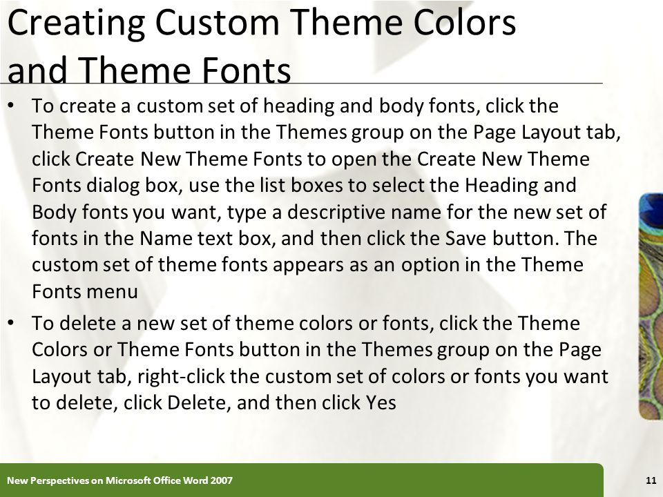 Creating Custom Theme Colors and Theme Fonts