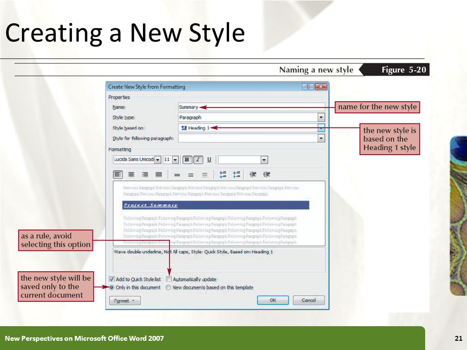 Creating a New Style New Perspectives on Microsoft Office Word 2007