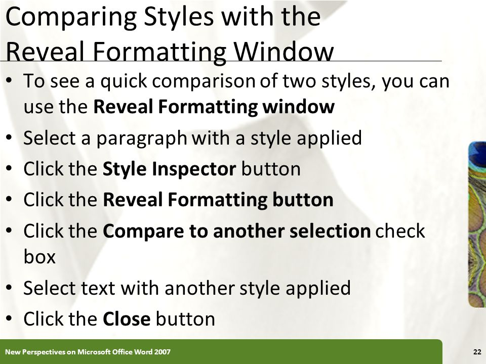 Comparing Styles with the Reveal Formatting Window