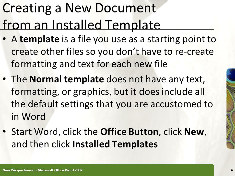 Creating A New Doent From An Installed Template