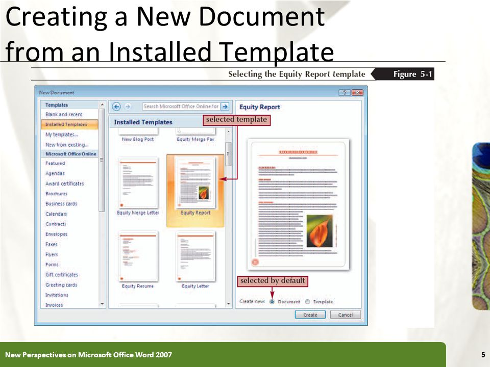 Creating a New Document from an Installed Template