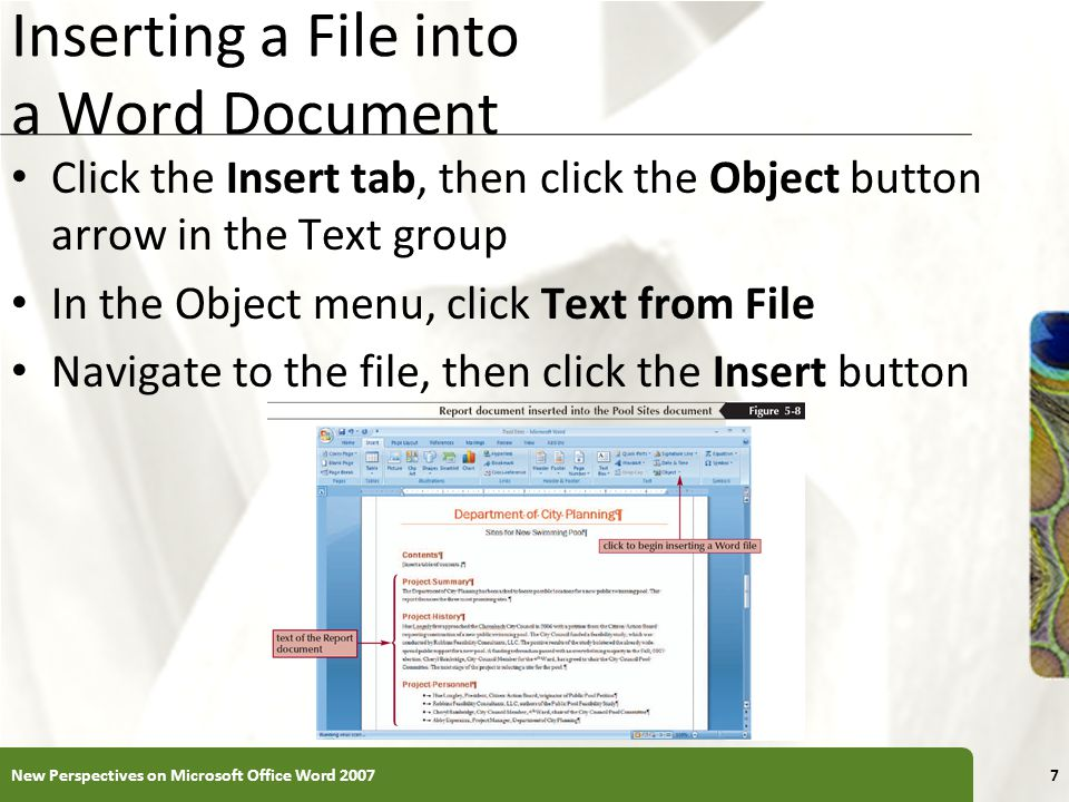 Inserting a File into a Word Document