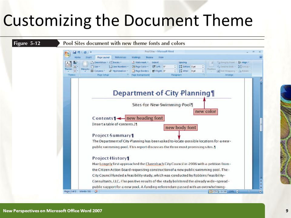 Customizing the Document Theme