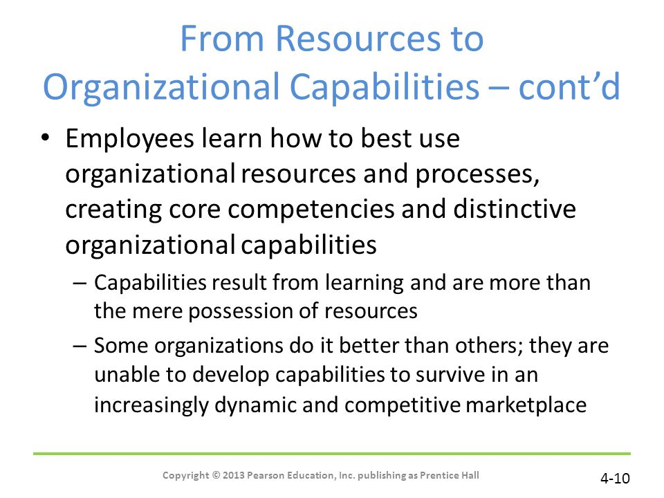 From Resources to Organizational Capabilities – cont'd