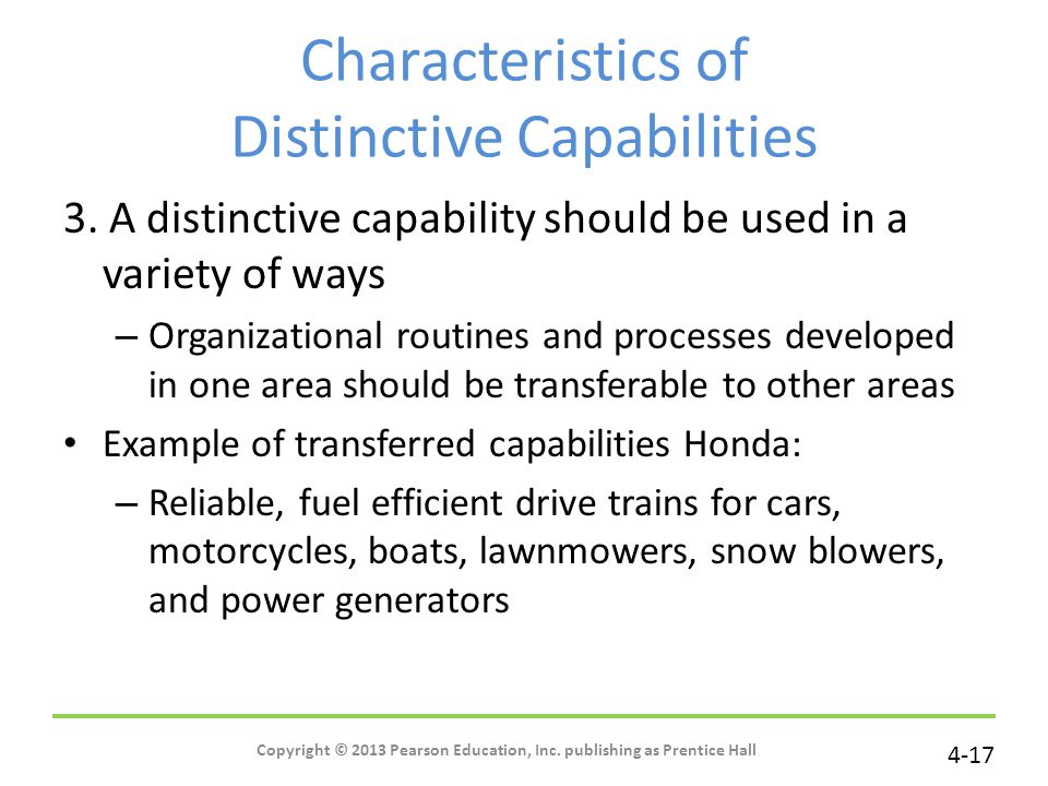 Characteristics of Distinctive Capabilities