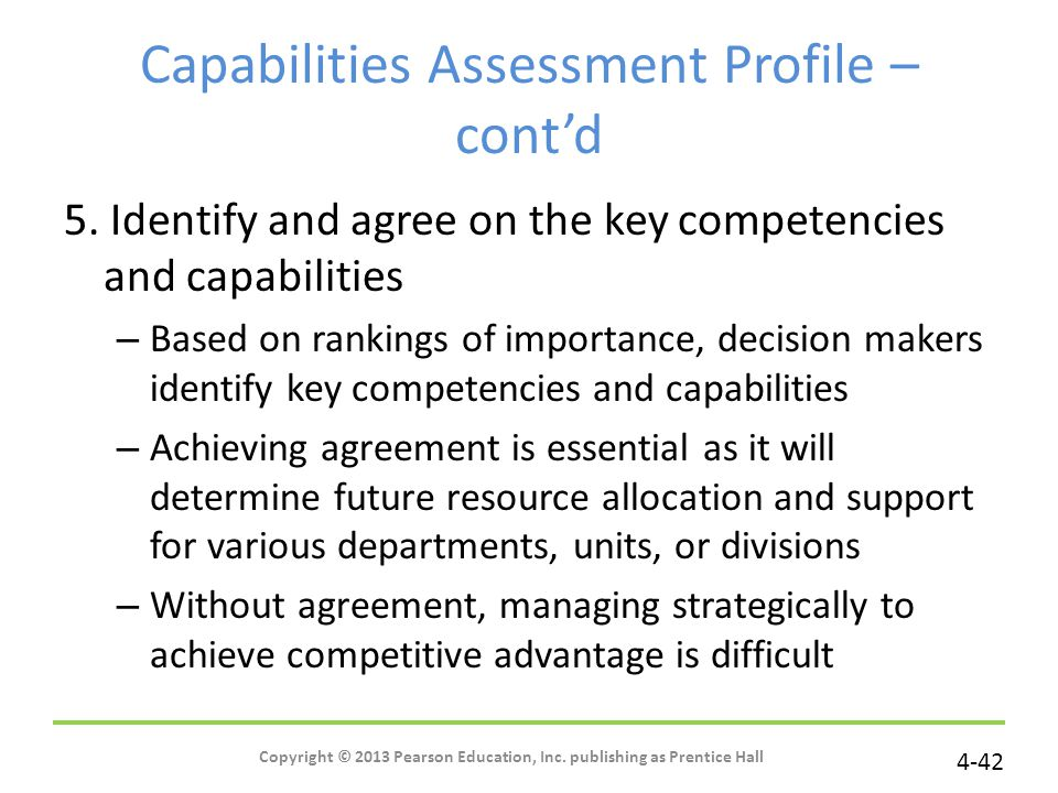 Capabilities Assessment Profile – cont'd