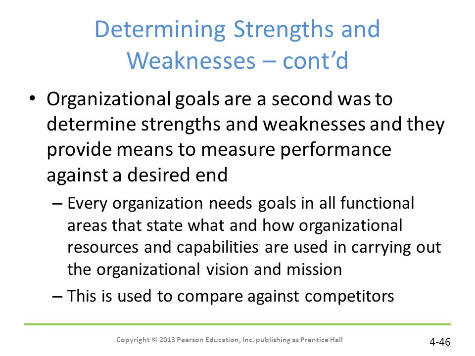 Determining Strengths and Weaknesses – cont'd