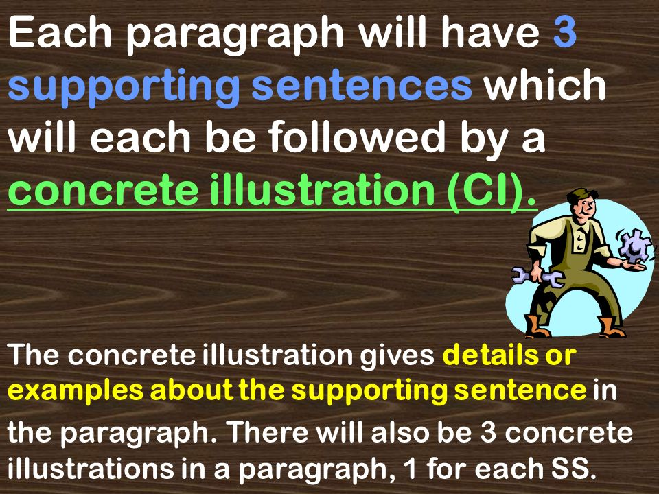 Each paragraph will have 3 supporting sentences which will each be followed by a concrete illustration (CI).
