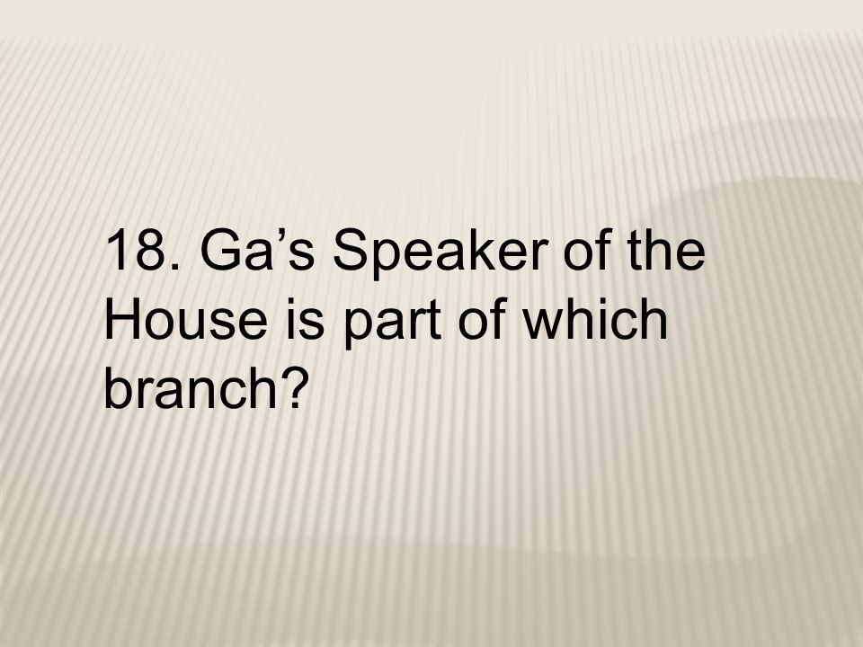 18. Ga's Speaker of the House is part of which branch