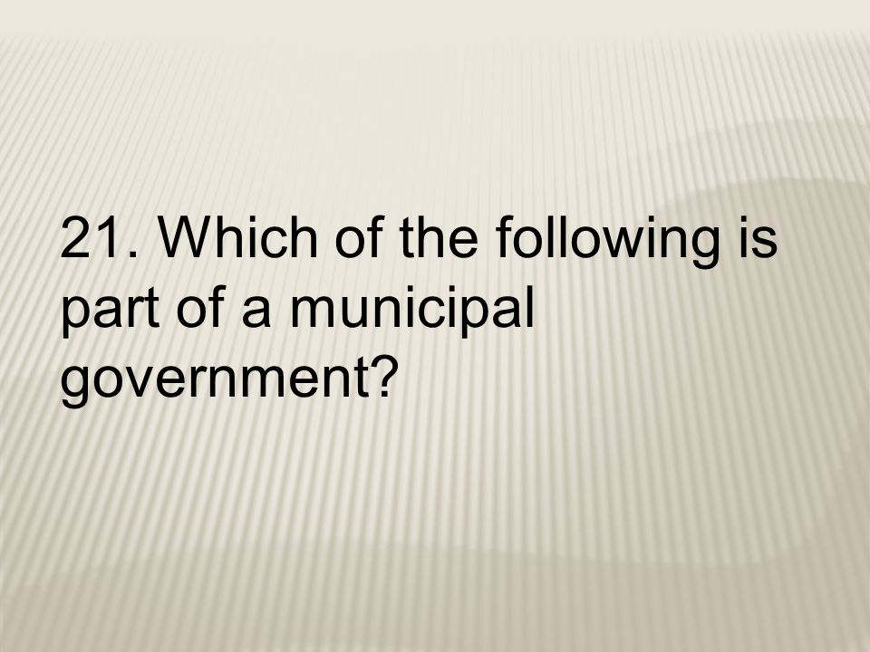 21. Which of the following is part of a municipal government