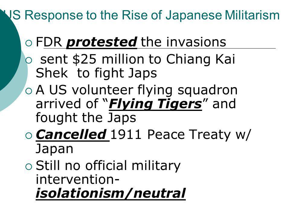 US Response to the Rise of Japanese Militarism