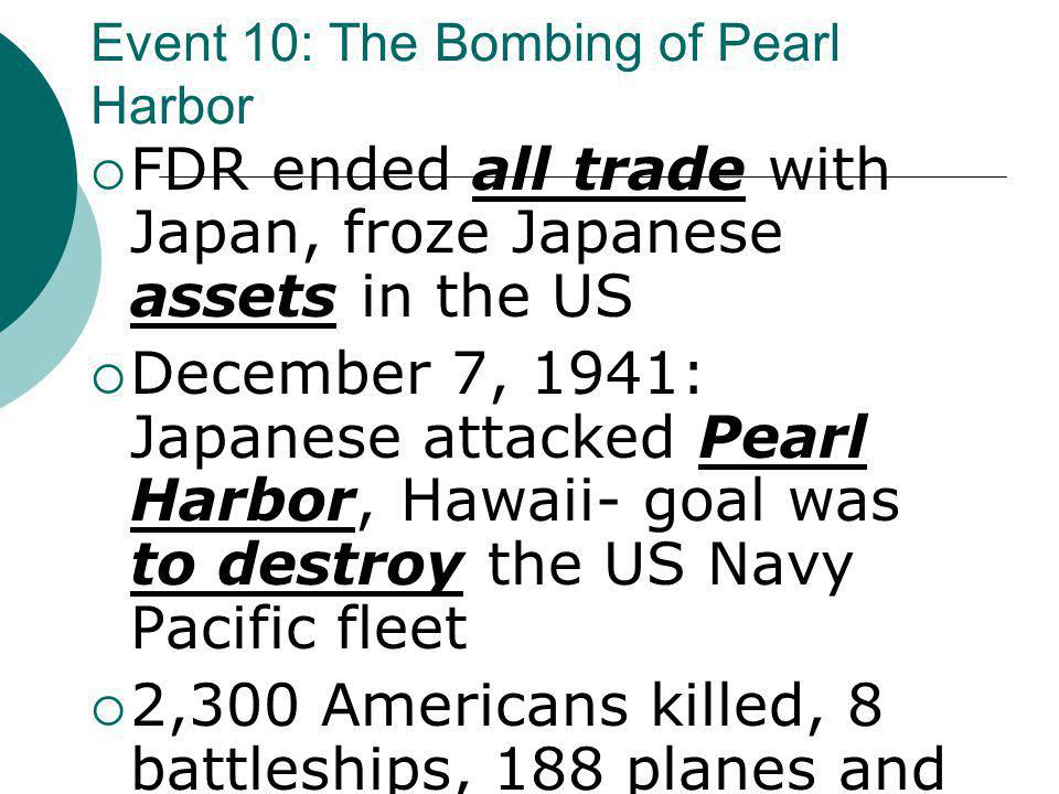Event 10: The Bombing of Pearl Harbor