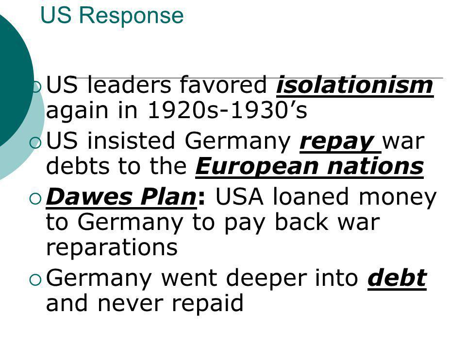 US Response US leaders favored isolationism again in 1920s-1930's. US insisted Germany repay war debts to the European nations.