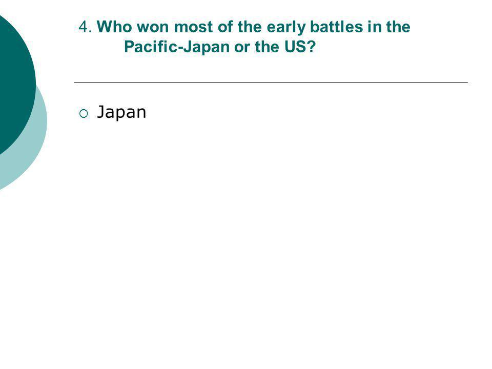 4. Who won most of the early battles in the Pacific-Japan or the US