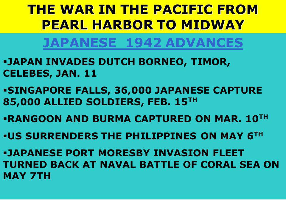 THE WAR IN THE PACIFIC FROM PEARL HARBOR TO MIDWAY