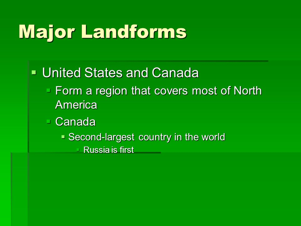 Major Landforms United States and Canada