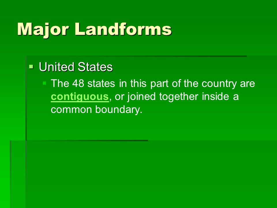 Major Landforms United States
