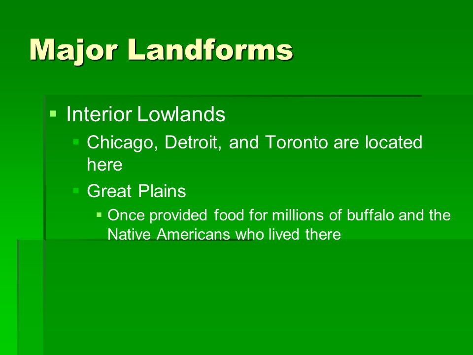 Major Landforms Interior Lowlands