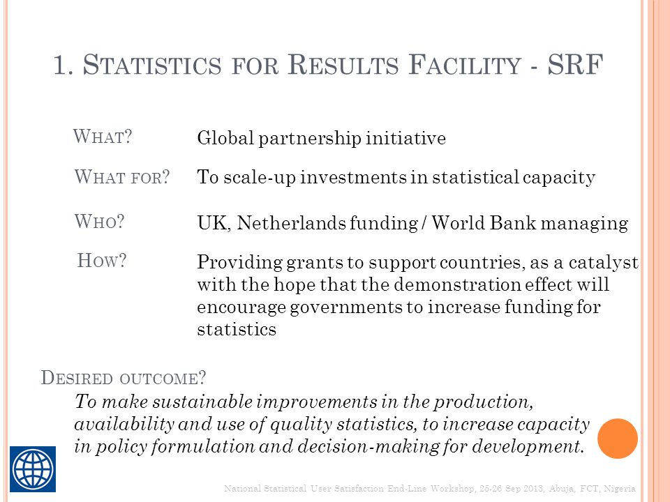 1. Statistics for Results Facility - SRF