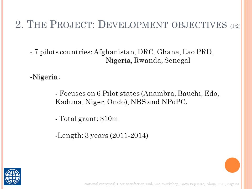 2. The Project: Development objectives (1/2)