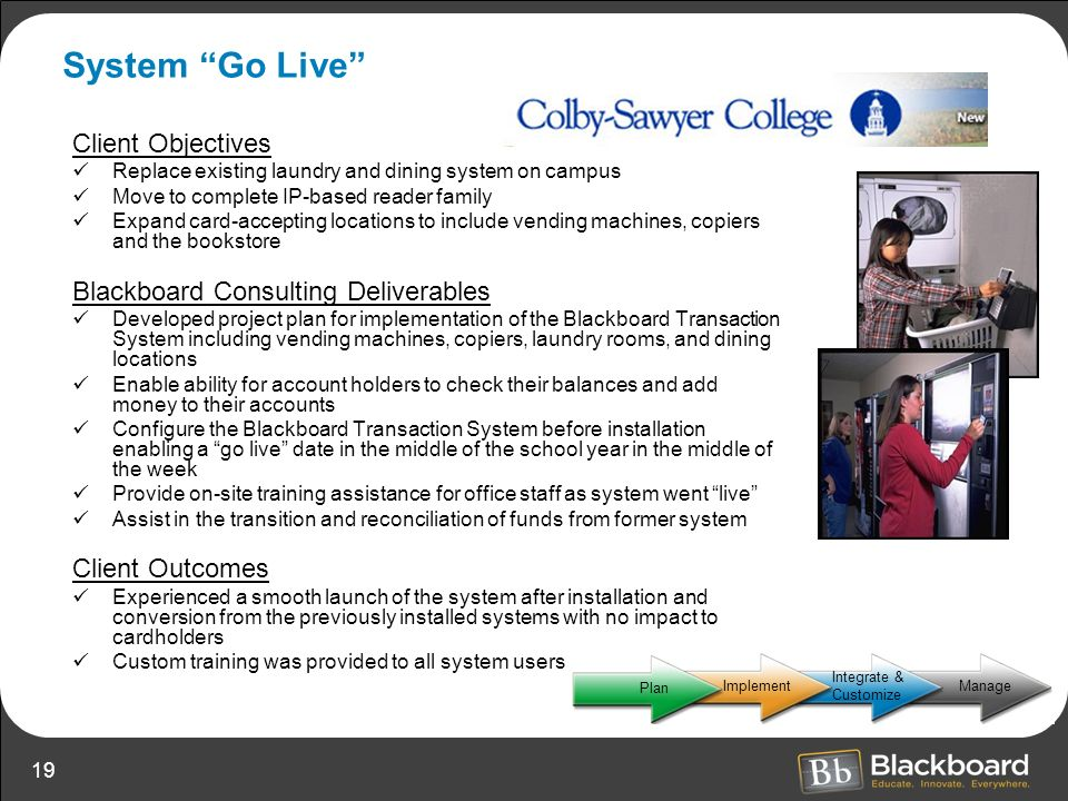 System Go Live Client Objectives Blackboard Consulting Deliverables