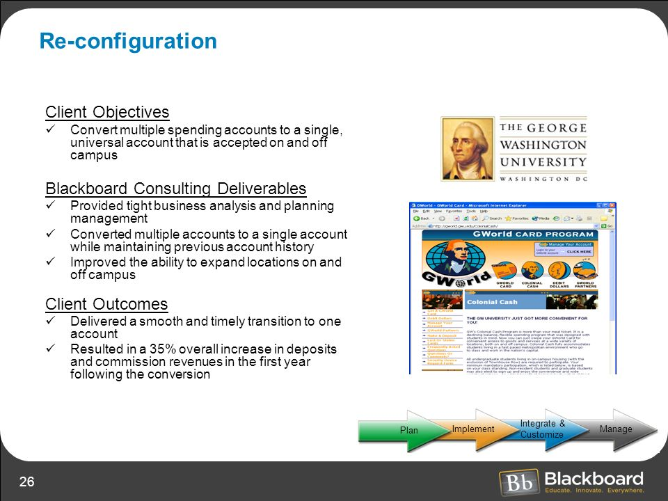 Re-configuration Client Objectives Blackboard Consulting Deliverables