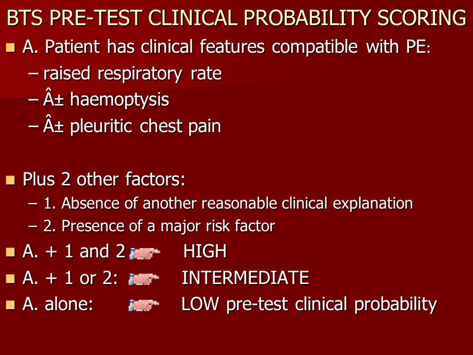 BTS PRE-TEST CLINICAL PROBABILITY SCORING