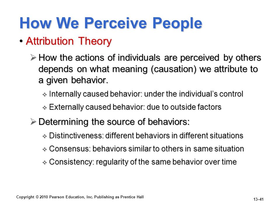 How We Perceive People Attribution Theory