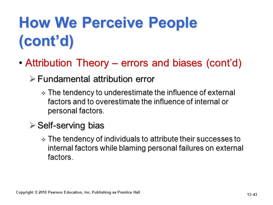How We Perceive People (cont'd)