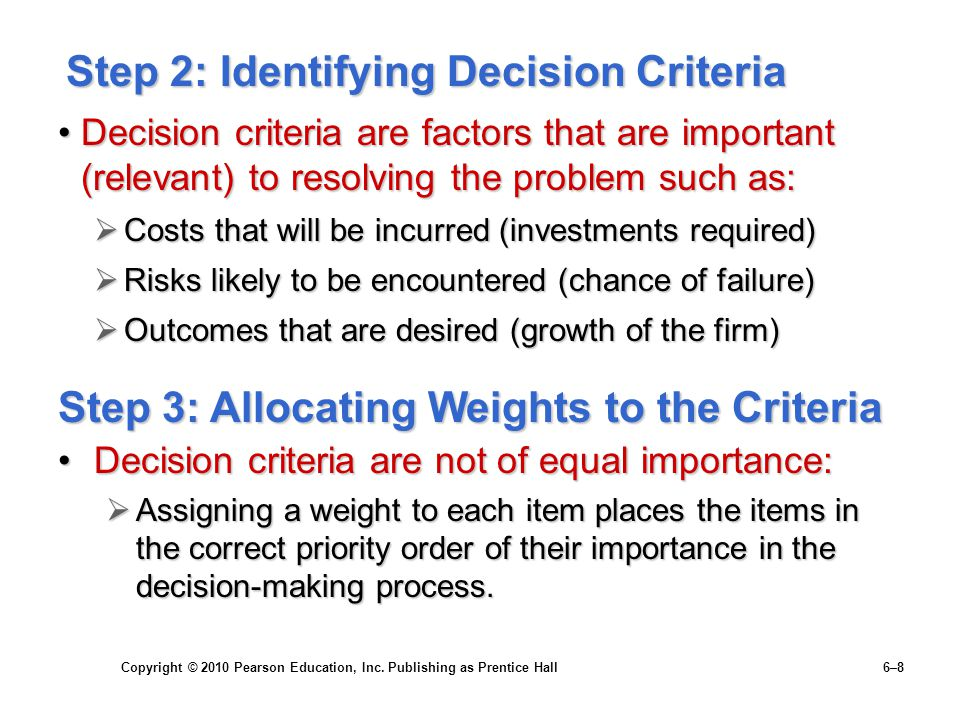 Step 2: Identifying Decision Criteria