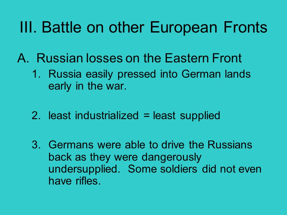 III. Battle on other European Fronts