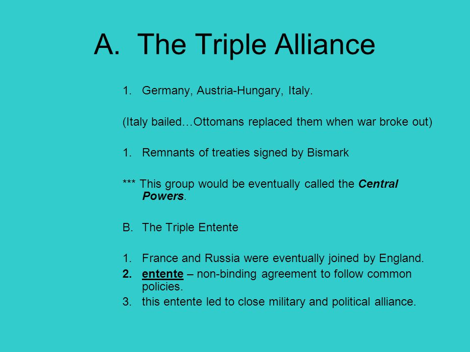 A. The Triple Alliance Germany, Austria-Hungary, Italy.